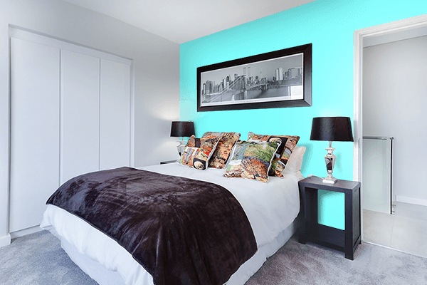 Pretty Photo frame on Electric Blue color Bedroom interior wall color