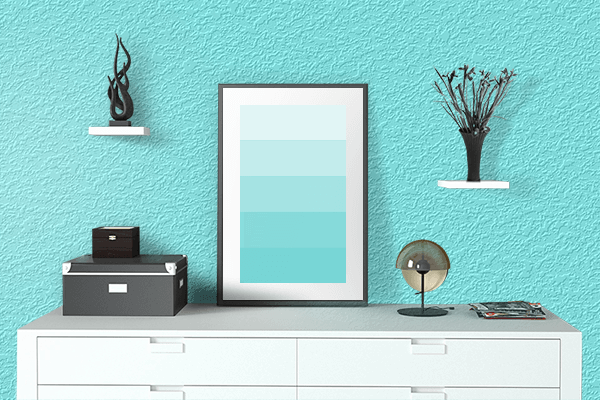 Pretty Photo frame on Electric Blue color drawing room interior textured wall