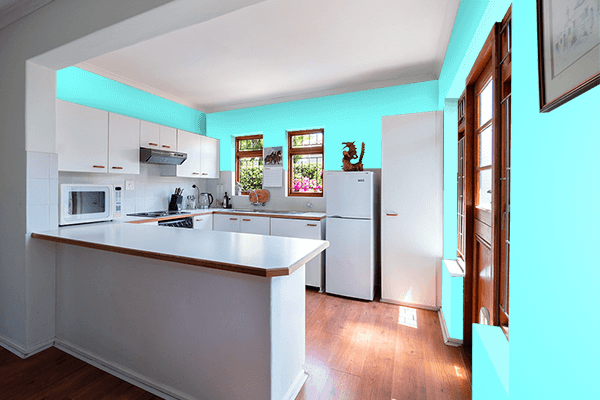 Pretty Photo frame on Electric Blue color kitchen interior wall color