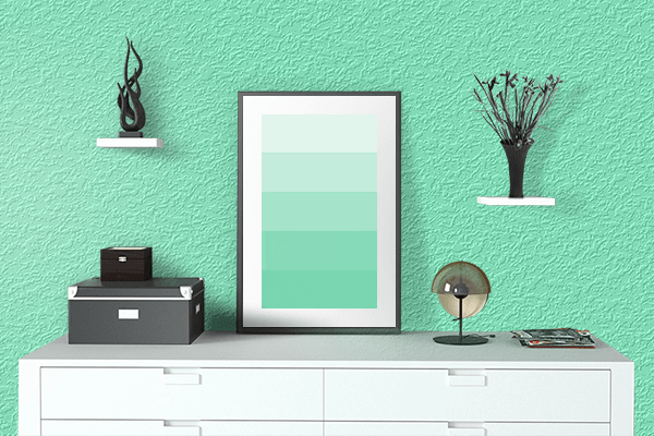 Pretty Photo frame on Aquamarine color drawing room interior textured wall