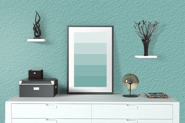 Pretty Photo frame on Pearl Aqua color drawing room interior textured wall