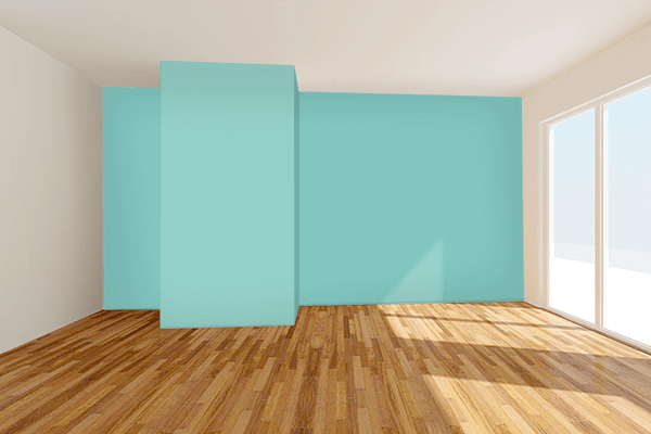 Pretty Photo frame on Pearl Aqua color Living room wal color