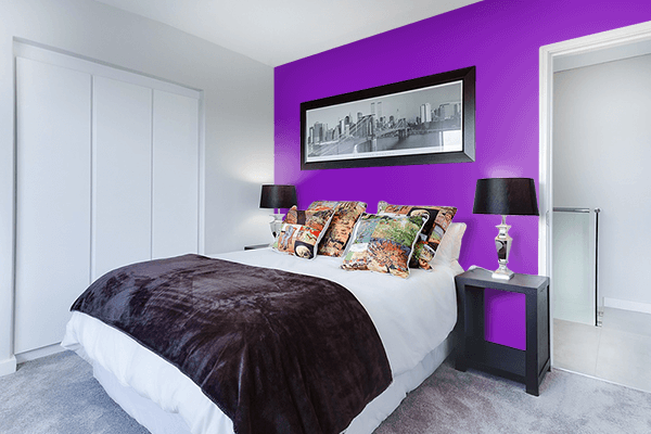Pretty Photo frame on Violet (RYB) color Bedroom interior wall color