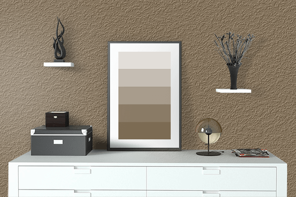 Pretty Photo frame on French Bistre color drawing room interior textured wall