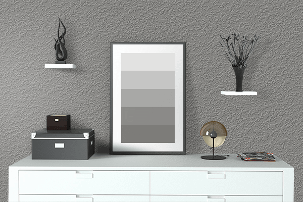 Pretty Photo frame on Titanium color drawing room interior textured wall
