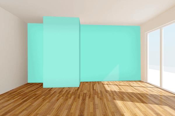 Pretty Photo frame on Aquamarine color Living room wal color