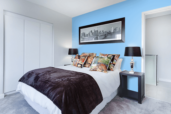 Pretty Photo frame on Baby Blue color Bedroom interior wall color