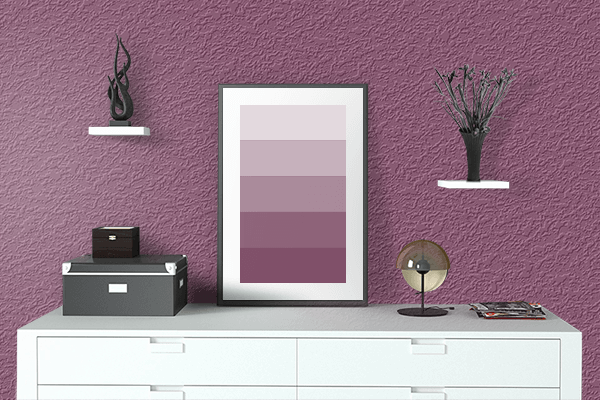 Pretty Photo frame on Twilight Lavender color drawing room interior textured wall