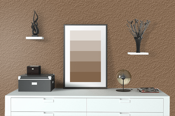 Pretty Photo frame on Raw Umber color drawing room interior textured wall