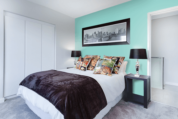 Pretty Photo frame on Middle Blue Green color Bedroom interior wall color