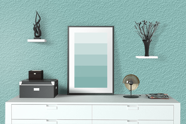 Pretty Photo frame on Middle Blue Green color drawing room interior textured wall