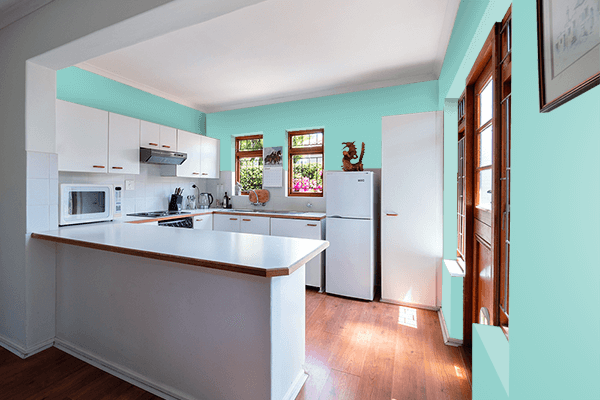 Pretty Photo frame on Middle Blue Green color kitchen interior wall color