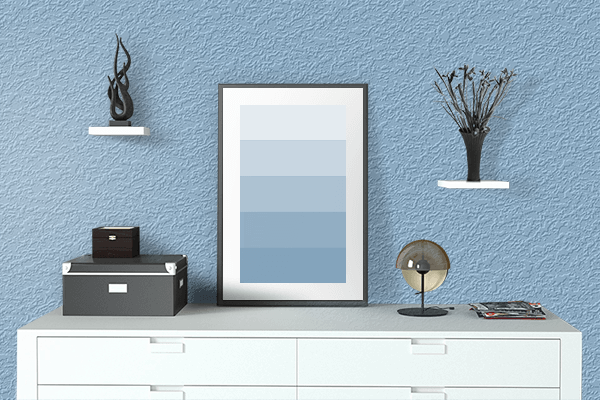 Pretty Photo frame on Dark Sky Blue color drawing room interior textured wall