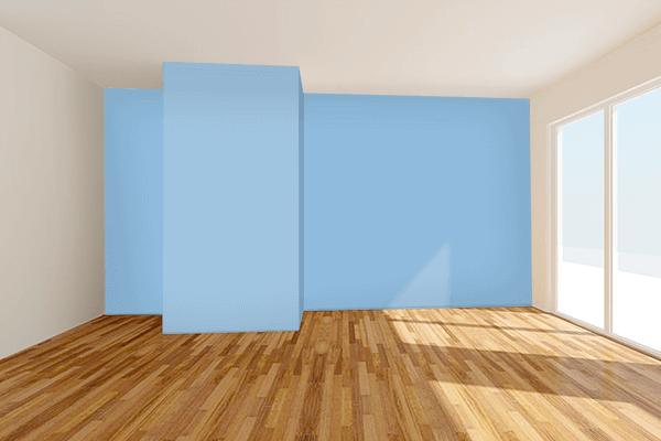 Pretty Photo frame on Dark Sky Blue color Living room wal color