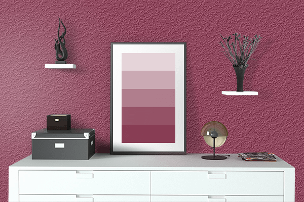 Pretty Photo frame on Red-Violet (Color Wheel) color drawing room interior textured wall