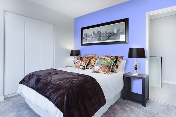 Pretty Photo frame on Jordy Blue color Bedroom interior wall color