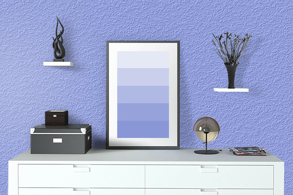 Pretty Photo frame on Jordy Blue color drawing room interior textured wall