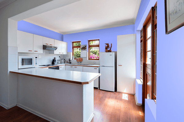 Pretty Photo frame on Jordy Blue color kitchen interior wall color