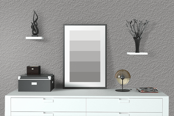 Pretty Photo frame on Spanish Gray color drawing room interior textured wall
