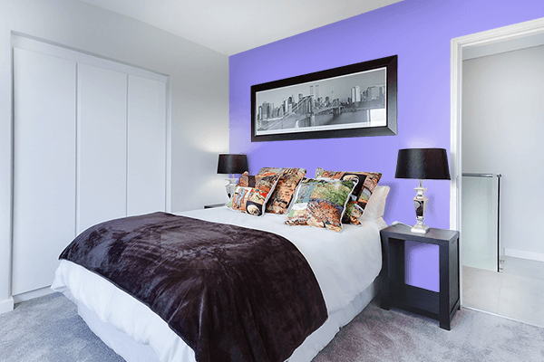 Pretty Photo frame on Maximum Blue Purple color Bedroom interior wall color