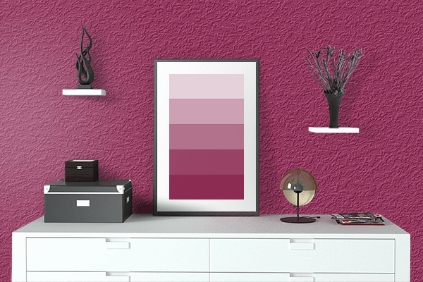Pretty Photo frame on Big Dip O'ruby color drawing room interior textured wall