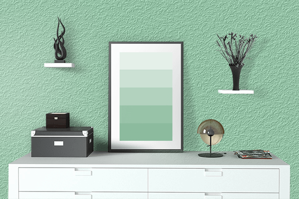 Pretty Photo frame on Turquoise Green color drawing room interior textured wall