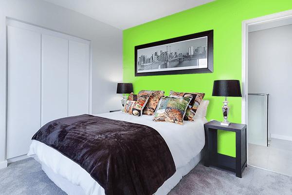 Pretty Photo frame on Kiwi color Bedroom interior wall color