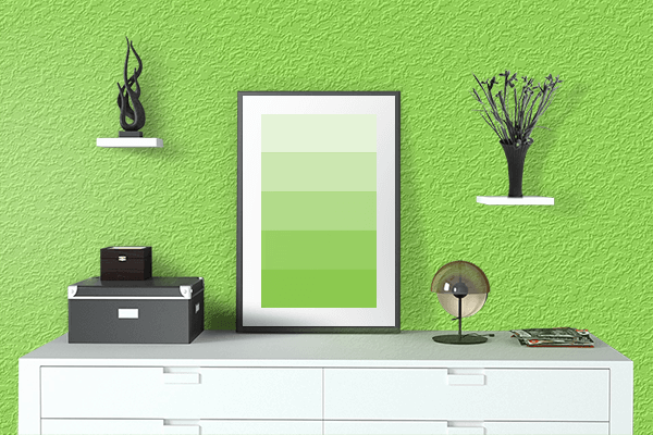 Pretty Photo frame on Kiwi color drawing room interior textured wall