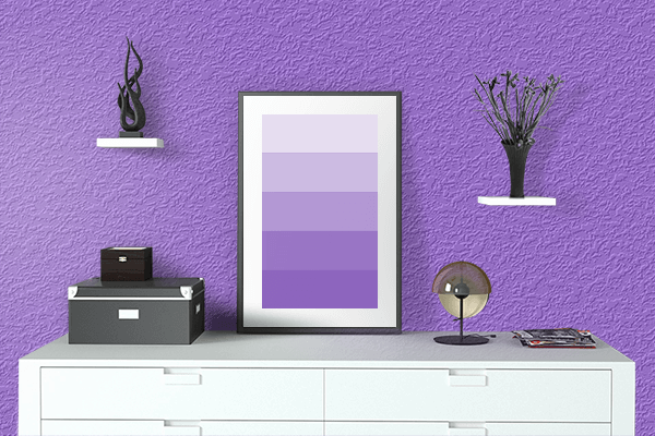 Pretty Photo frame on Dark Pastel Purple color drawing room interior textured wall