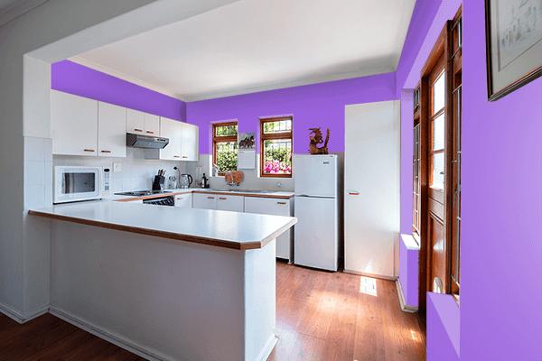 Pretty Photo frame on Dark Pastel Purple color kitchen interior wall color