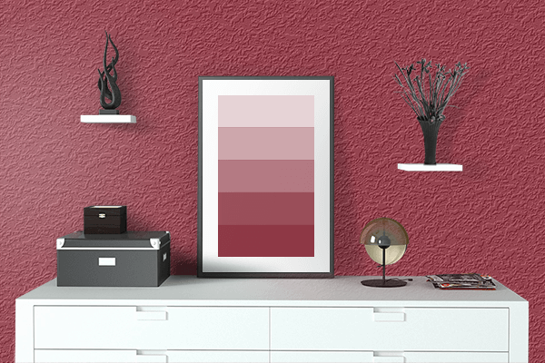 Pretty Photo frame on Japanese Carmine color drawing room interior textured wall
