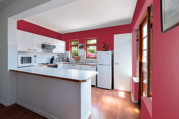 Pretty Photo frame on Japanese Carmine color kitchen interior wall color
