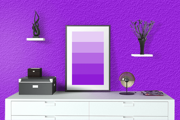 Pretty Photo frame on Vivid Violet color drawing room interior textured wall