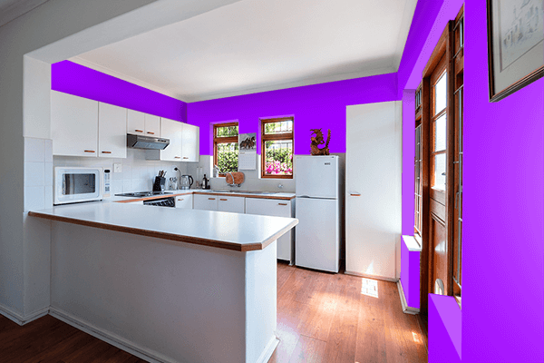 Pretty Photo frame on Vivid Violet color kitchen interior wall color
