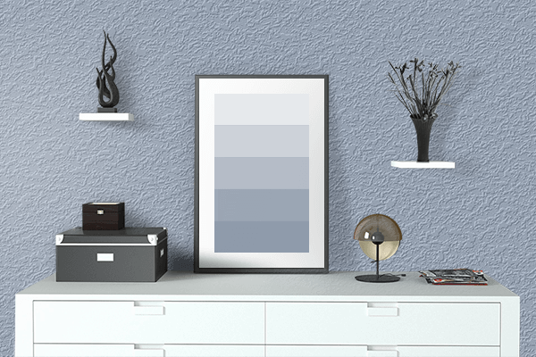 Pretty Photo frame on Cadet Blue (Crayola) color drawing room interior textured wall