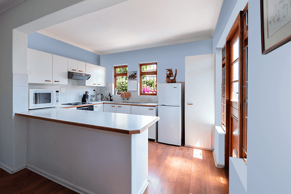 Pretty Photo frame on Cadet Blue (Crayola) color kitchen interior wall color