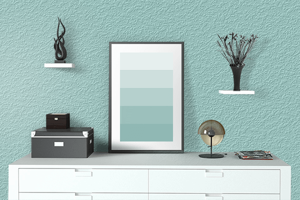 Pretty Photo frame on Pale Robin Egg Blue color drawing room interior textured wall