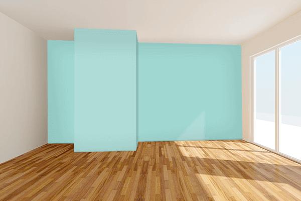 Pretty Photo frame on Pale Robin Egg Blue color Living room wal color