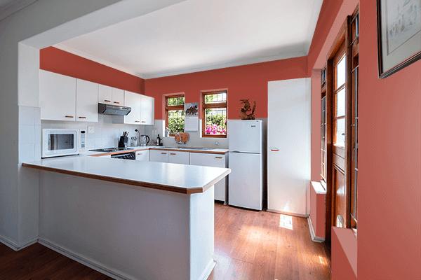 Pretty Photo frame on Medium Carmine color kitchen interior wall color