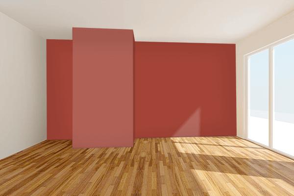 Pretty Photo frame on Medium Carmine color Living room wal color