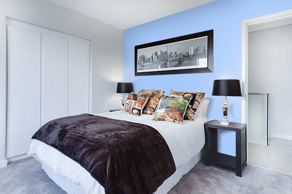 Pretty Photo frame on Baby Blue Eyes color Bedroom interior wall color