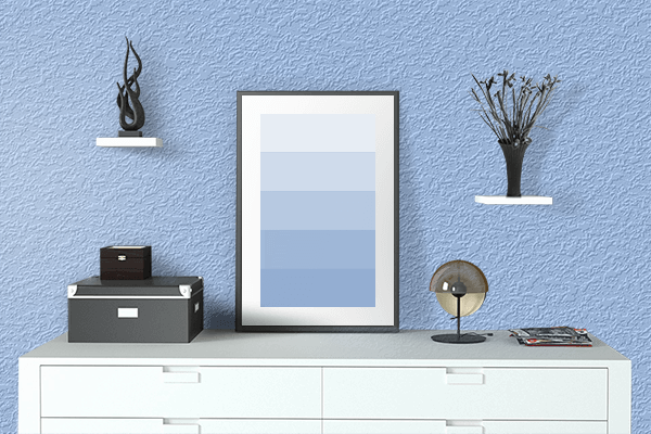 Pretty Photo frame on Baby Blue Eyes color drawing room interior textured wall