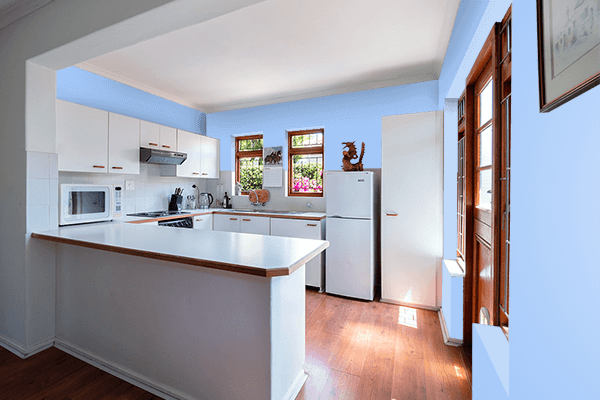 Pretty Photo frame on Baby Blue Eyes color kitchen interior wall color