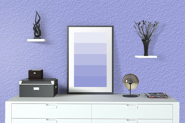 Pretty Photo frame on Maximum Blue Purple color drawing room interior textured wall