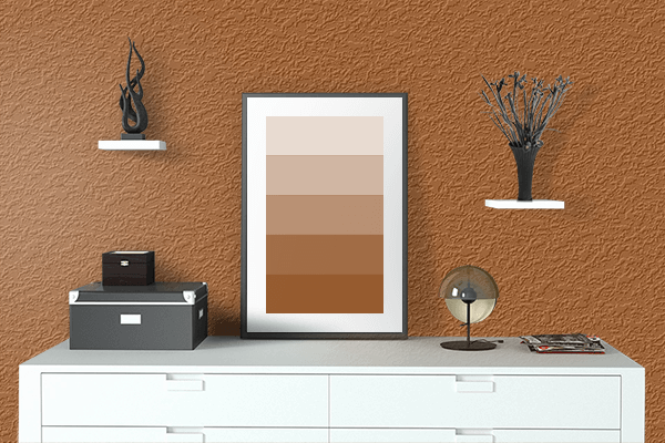 Pretty Photo frame on Light Brown color drawing room interior textured wall