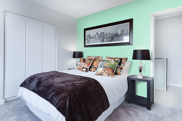 Pretty Photo frame on Magic Mint color Bedroom interior wall color