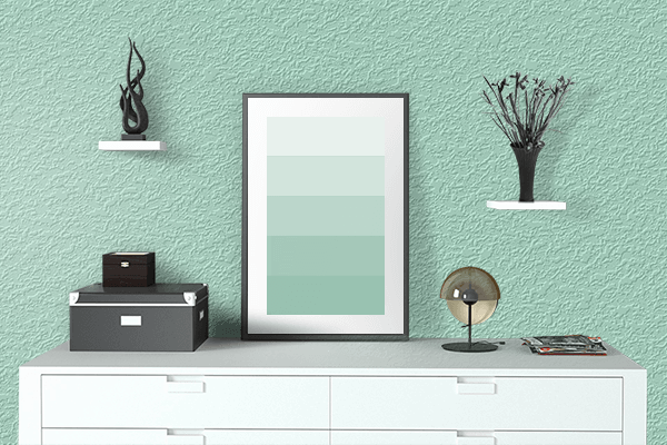 Pretty Photo frame on Magic Mint color drawing room interior textured wall