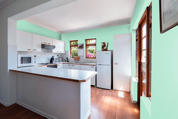Pretty Photo frame on Magic Mint color kitchen interior wall color