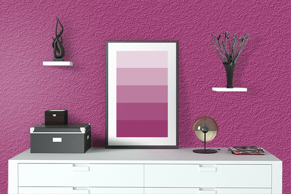 Pretty Photo frame on Maximum Red Purple color drawing room interior textured wall
