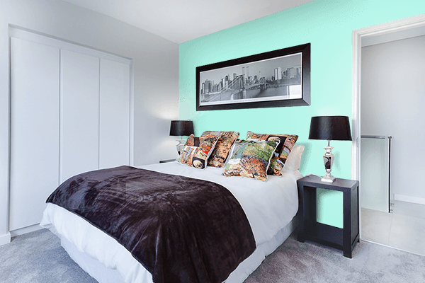 Pretty Photo frame on Pale Blue color Bedroom interior wall color
